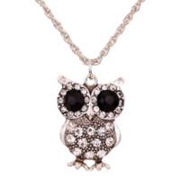 New Vintage Black Eye Silver Carve Full Crystal Cute Owl Pendant Chain Necklace