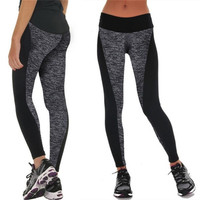 Women Fashion Black And Gray Paneled Plus Slimming Pants Leggings For Running/Yoga/SportS M L XL_trq = 1905814340