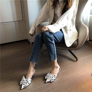 Spring Women's Korean-style Pointed-Toe White Polka Dot Bow Thin Heeled Semi-high Heeled Dotted Slipper
