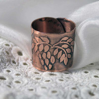 Ash ring - Copper ring Ash tree - Ethnobotanic ring - Leaves ring - Etched ring - Talisman ring -  Forest Elven Ring