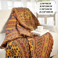 Bohemian Chenille Towel Blanket for Couch Sofa Decorative Slipcover Throws Plaid Rectangular Boho Stitching Travel Plane Blanket