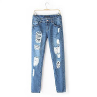 Stylish Ripped Holes Slim Denim Pants [5013202244]