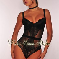 Black Bustier Sheer Lace Padded Lingerie Bodysuit