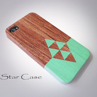 iPhone 4/ 4s and 5 Case - Cell Phone Cover - Geometric on Wood iPhone 4 5 Hard Case-  iPhone 5 Cover - Geometric  Tribal Aztec Phone Case