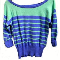 Mint and blue stripes sweater