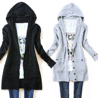 2018 New women's long-sleeve knitted outerwear medium-long hooded cardigan sweater Autumn