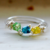 Birthstone Ring, Personalized mom mother grandmother grandma - Wire Wrapped