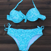 Fluorescence Printed Push up Halter Bikini Swimsuits Two Pieces for Women