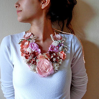 Pink fabric flower necklace, Handmade Bohemian Necklace , country wedding