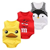 Baby Bag Fart Summer Pure Cotton Vest Clothes Baby Boy Sleeveless Cartoon Bodysuit Clothes born Girl Climbing Pajama