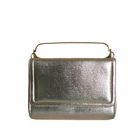 Vintage Handbag Gold Lame Evening Purse - Miss Lewis Square Gold Tone Metal Handle - Cover Flap and Snap Closure