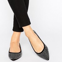 ASOS LIEZEL Wide Fit Embellished Pointed Ballet Flats at asos.com