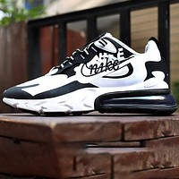 NIKE AIR MAX 270 REACT joint foam air cushion sports casual running shoes Black White