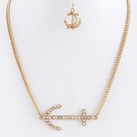 Crystal Anchor Charm Necklace Set