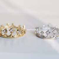 King's crown ring, royal crown ring gold/silver R054