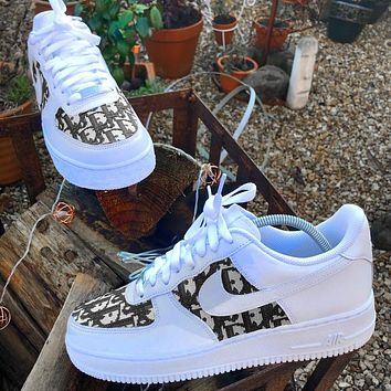 Onewel Nike Air Force 1 x Dior Print Contrast Shoes Women Men Trending Shoes White