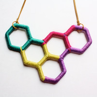 Unique Upcycled Geometric Necklace in Bright Colors (Teal, Light Green, Pink, and Light Purple)