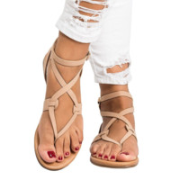 New fashion summer thin belt flat bottom women sandals Beige