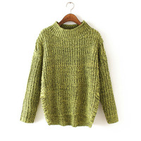 Women's Fashion Sweater Hollow Out Ripped Holes Knit Tops High Neck Winter Jacket [9176522884]