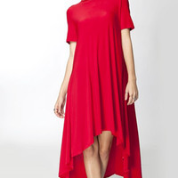 Lunch in Paris High Low Swing Dress - Red