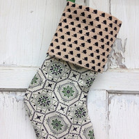 25% OFF WEEKEND SALE- Modern Retro Stocking -Christmas Stocking-Upcycled  Linens