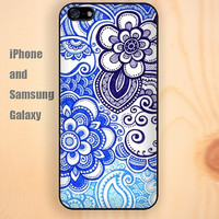 Color painting blue flowers iphone 6 6 plus iPhone 5 5S 5C case Samsung S3,S4,S5 case Ipod Silicone plastic Phone cover Waterproof
