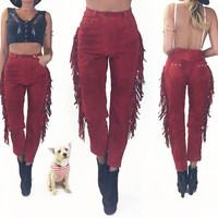 Vintage 1970s 198's Red FRINGE Suede High Waisted Southwestern Slim Leg Festival Pants    Thunderbird And Conchos    Size 26 to 27 / 2 to 4