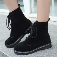 Classic  Martin Boots Lace Up Ankle Boots Combat Punk Ankle Martin Boots Flat shoes Size 35-39