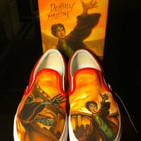 Custom Painted Harry Potter Vans Slip on Shoes - Made to Order