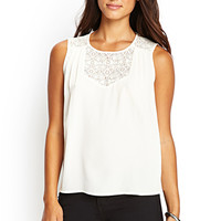 LOVE 21 Lace-Paneled Pleated Top