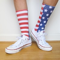 Stars and Stripes Full Print Socks - Red White and Blue - 4th of July - Adult Unisex Size fits Most