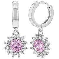 925 Sterling Silver Gorgeous Flower Dangle Earrings Clear Cubic Zirconia For Girls & Young Teens