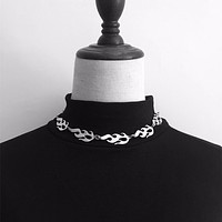 Steel Flame Choker Necklace