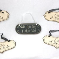 Wedding Bride & Groom Ceremony / Reception Gift Set - 5 Wood Signs with Ribbon