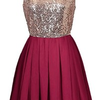 Iced Cranberry Dress | Gold Sequin Red Chiffon Party Dresses | RicketyRack.com