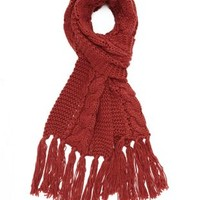 Cable Knit Scarf with Fringe by Charlotte Russe