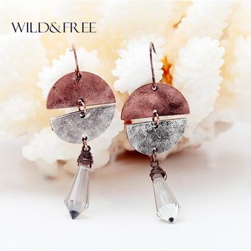 Women Vintage Glass Water Drop Pendant Dangle Earrings Alloy Round Antique Copper Silver Plated Drop Earrings