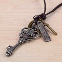 Key with sweet heart Charm Genuine Leather Necklace with Circles Crosses,motto brand.Adjustable necklace,unisex necklace,handmade gift (Size: 70, Color: Bronze) = 1932487172
