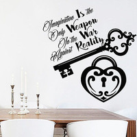 Alice In Wonderland Wall Decal Imagination Is The Only Weapon Home Decor DS437