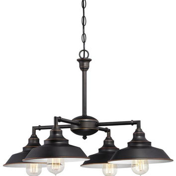 Iron Hill Four-Light Indoor Convertible Chandelier, Semi-Flush Ceiling Fixture Oil Rubbed Bronze Finish with Highlights and Metal Shades