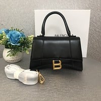 BALENCIAGA WOMEN'S LEATHER Hourglass HANDBAG INCLINED SHOULDER BAG