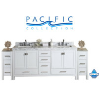 """84"""" Malibu White Double Modern Bathroom Vanity with 2 Side Cabinets and White Marble Top with Undermount Sinks"""
