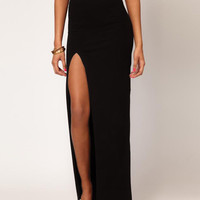 Black Maxi Skirt with Slit