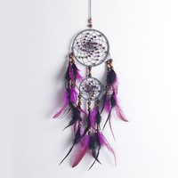 Charm Indian Style Dreamcatcher Catcher Net with Wooden Bead Feathers Wall Car Hanging Ornament