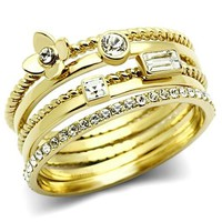 Gold Crystal Stackable Band Ring Set
