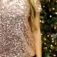 Starlight Sequin Top - Rose Gold