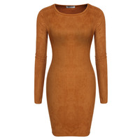 Brown Long-Sleeve Suede Bodycon Dress