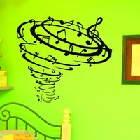 Vinyl Wall Decals Note Notes Waves Musical Sign Treble Clef Decal Sticker Home Decor Art Mural Z663