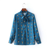 Blue Dog Print Long Sleeve Bow Shirt