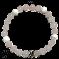 BALANCE EMOTIONS | Lotus Carved Tridacna | Rose Quartz Bracelet